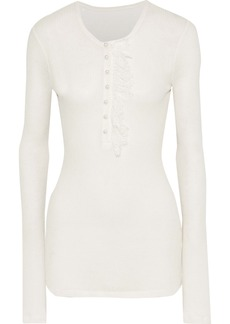 Philosophy Di Lorenzo Serafini Woman Lace-trimmed Ribbed Jersey Top Ivory