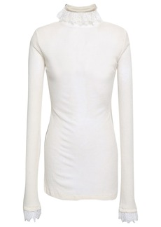 Philosophy Di Lorenzo Serafini Woman Lace-trimmed Ribbed Jersey Turtleneck Top Off-white