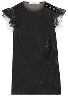 Philosophy Di Lorenzo Serafini Woman Lace-trimmed Ruffled Velvet Top Dark Gray