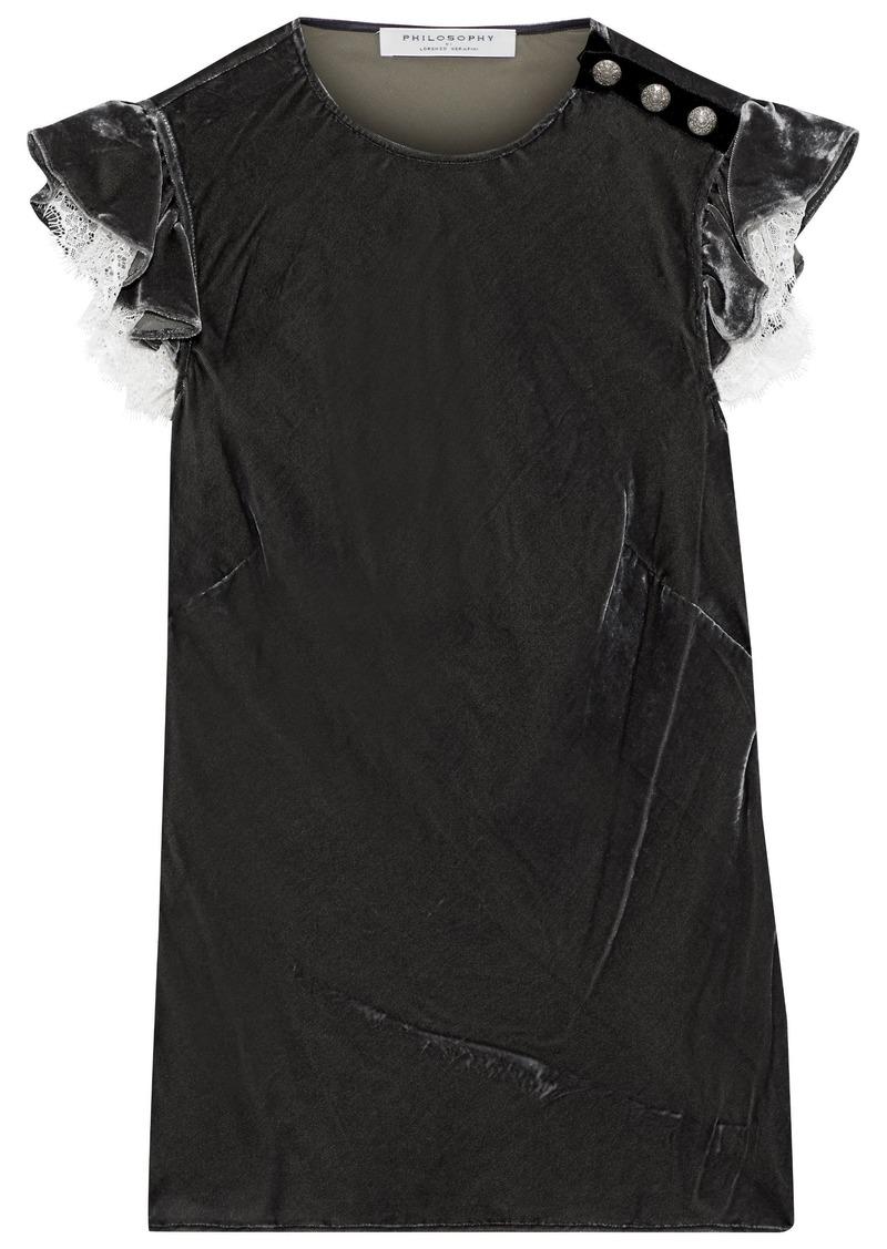 Philosophy Di Lorenzo Serafini Woman Lace-trimmed Ruffled Velvet Top Dark Gray