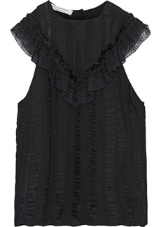 Philosophy Di Lorenzo Serafini Woman Lace-trimmed Striped Satin-jacquard Top Black