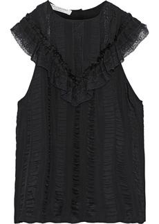 Philosophy Di Lorenzo Serafini Woman Lace-trimmed Striped Satin-jacquard Top Black
