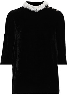 Philosophy Di Lorenzo Serafini Woman Lace-trimmed Velvet Top Black