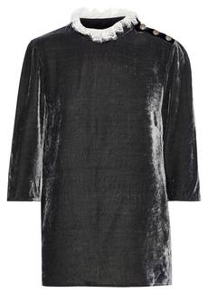 Philosophy Di Lorenzo Serafini Woman Lace-trimmed Velvet Top Dark Gray