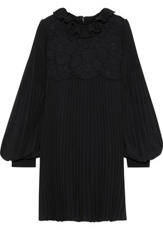 Philosophy Di Lorenzo Serafini Woman Layered Corded Lace And Pleated Chiffon Mini Dress Black