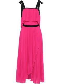 Philosophy Di Lorenzo Serafini Woman Layered Plissé-georgette Midi Dress Fuchsia