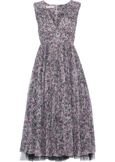 Philosophy Di Lorenzo Serafini Woman Layered Printed Plissé-silk And Point D'esprit Midi Dress Lilac