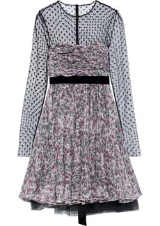 Philosophy Di Lorenzo Serafini Woman Layered Printed Silk And Point D'espirit Mini Dress Multicolor