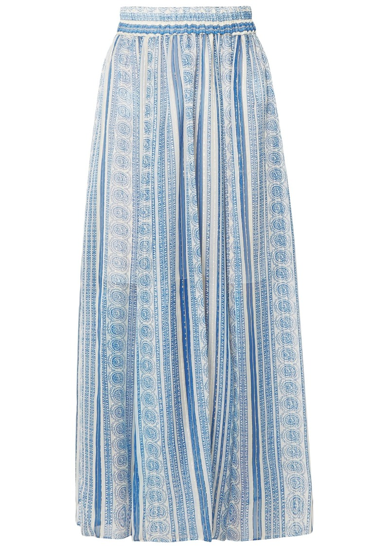 Philosophy Di Lorenzo Serafini Woman Metallic Printed Silk-blend Gauze Midi Skirt Blue