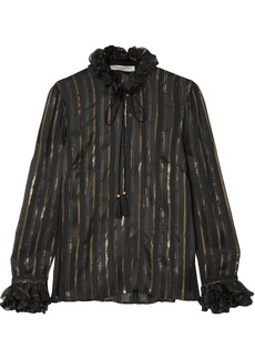 Philosophy Di Lorenzo Serafini Woman Metallic Striped Silk-blend Jacquard Blouse Black