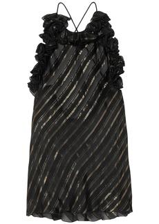 Philosophy Di Lorenzo Serafini Woman Metallic Striped Silk-blend Jacquard Top Black