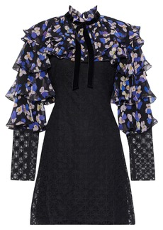Philosophy Di Lorenzo Serafini Woman Floral-print Georgette And Crocheted Mini Dress Multicolor