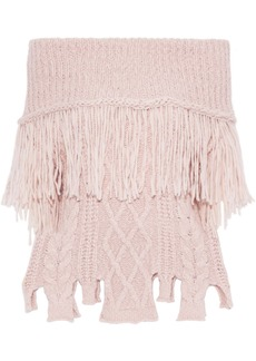 Philosophy Di Lorenzo Serafini Woman Off-the-shoulder Ribbed And Cable-knit Alpaca-blend Sweater Baby Pink