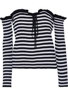 Philosophy Di Lorenzo Serafini Woman Off-the-shoulder Striped Ribbed-knit Top Black