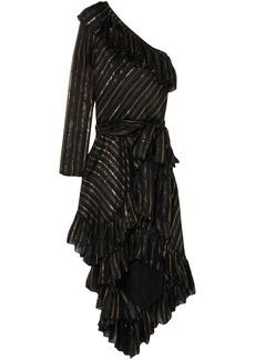 Philosophy Di Lorenzo Serafini Woman One-shoulder Metallic Silk-blend Jacquard Dress Black