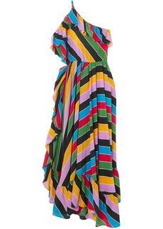Philosophy Di Lorenzo Serafini Woman One-shoulder Striped Silk Crepe De Chine Maxi Dress Multicolor