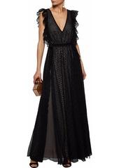 Philosophy Di Lorenzo Serafini Woman Open-back Chiffon-paneled Ruffled Broderie Anglaise Gown Black