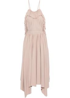 Philosophy Di Lorenzo Serafini Woman Open-back Ruffle-trimmed Pleated Cady Midi Dress Blush