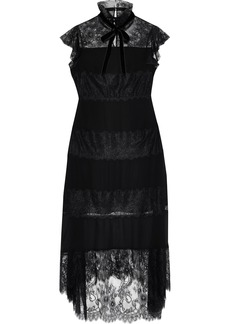 Philosophy Di Lorenzo Serafini Woman Paneled Chantilly Lace And Silk Crepe De Chine Midi Dress Black