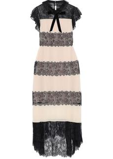 Philosophy Di Lorenzo Serafini Woman Paneled Chantilly Lace And Silk Crepe De Chine Midi Dress Pastel Pink