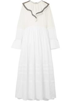 Philosophy Di Lorenzo Serafini Woman Paneled Cotton Maxi Dress White