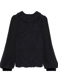 Philosophy Di Lorenzo Serafini Woman Pleated Chiffon-paneled Cotton-blend Corded Lace Blouse Black