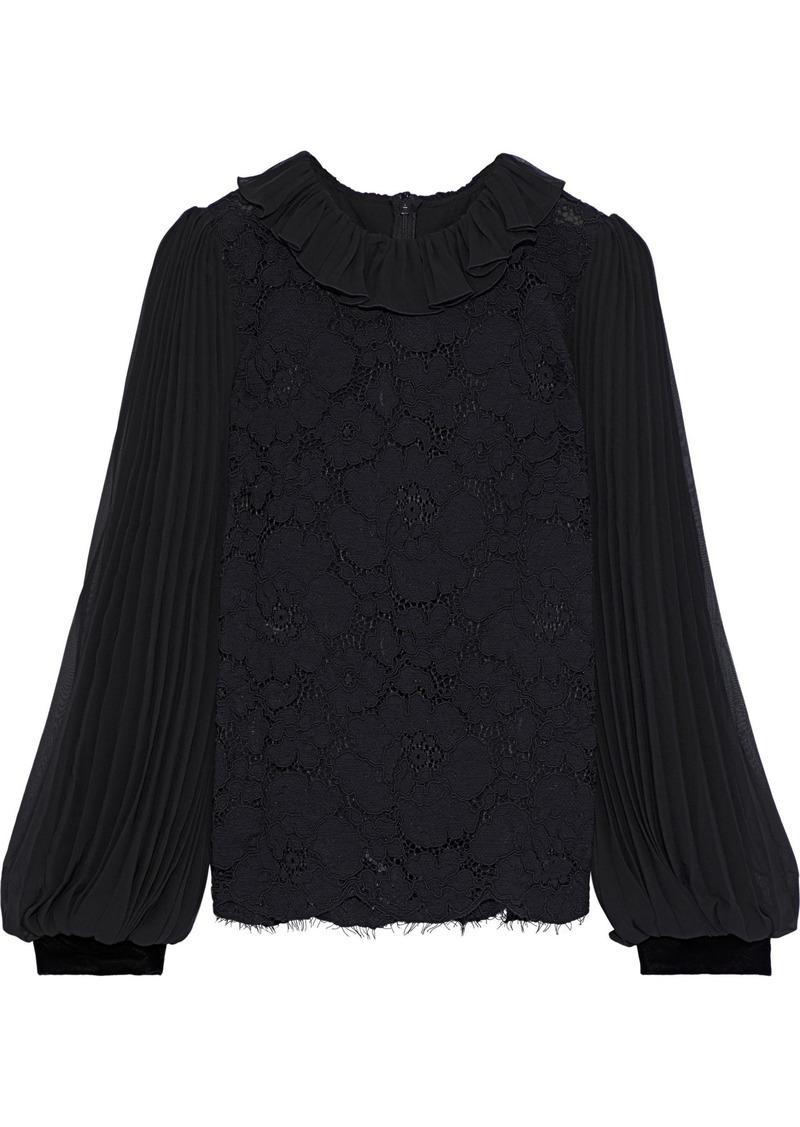Philosophy Di Lorenzo Serafini Woman Pleated Chiffon-paneled Cotton-blend Corded Lace Blouse Black