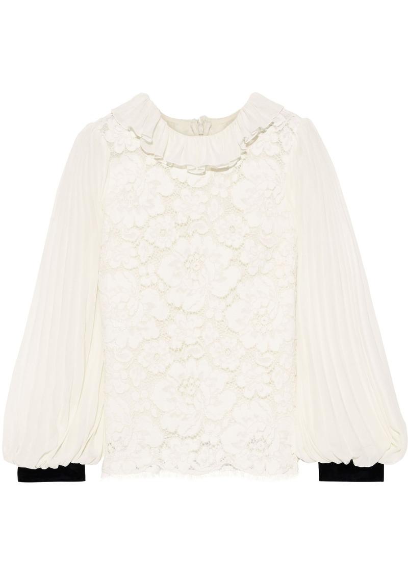 Philosophy Di Lorenzo Serafini Woman Pleated Chiffon-paneled Cotton-blend Corded Lace Blouse Ivory