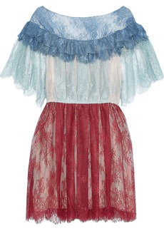 Philosophy Di Lorenzo Serafini Woman Pleated Color-block Chantilly Lace Mini Dress Multicolor
