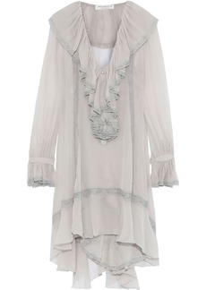 Philosophy Di Lorenzo Serafini Woman Pleated Ruffle-trimmed Silk-georgette Mini Dress Stone