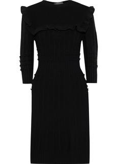 Philosophy Di Lorenzo Serafini Woman Pom Pom-embellished Ruffled Wool Dress Black