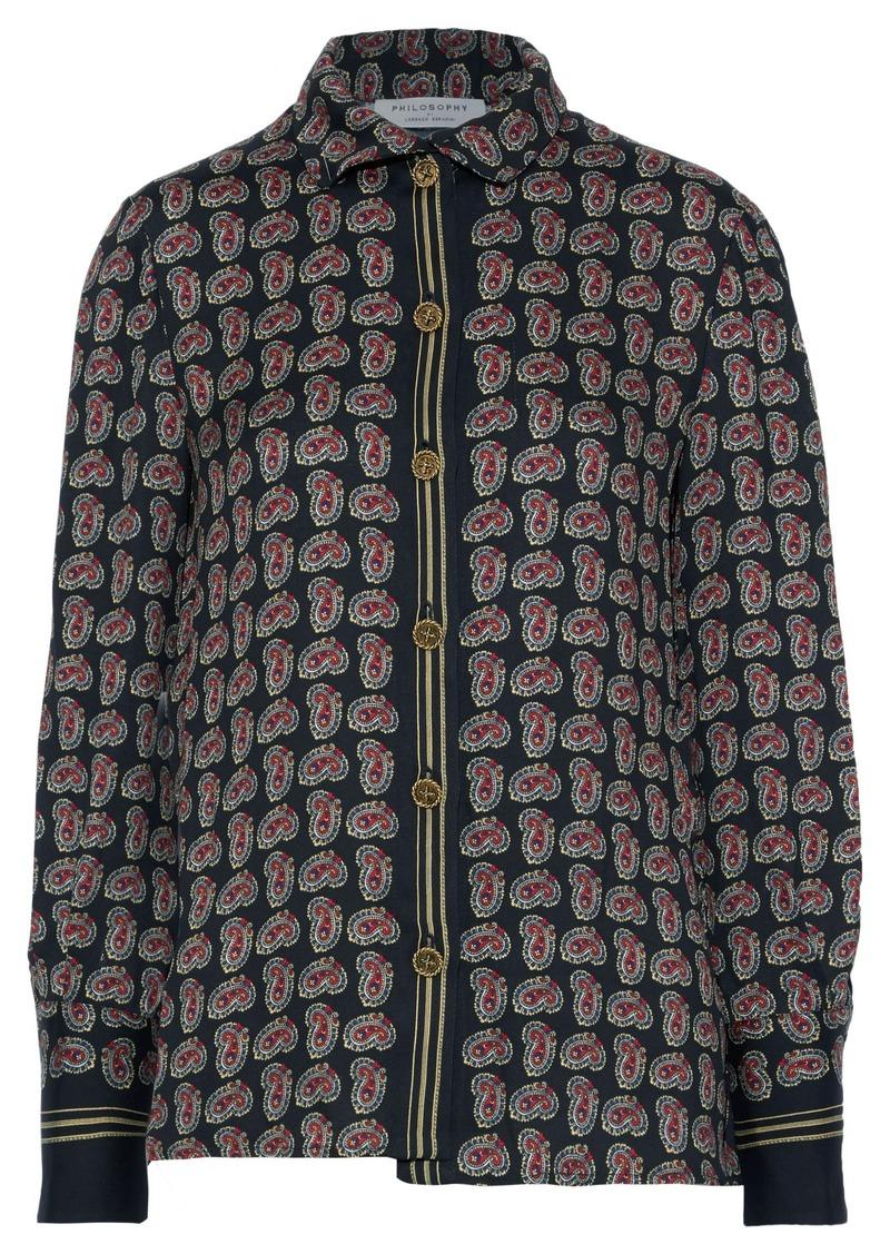 Philosophy Di Lorenzo Serafini Woman Printed Crepe Shirt Black