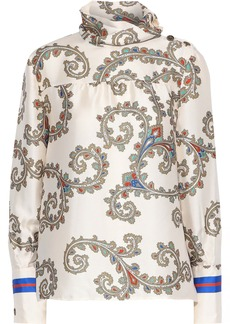 Philosophy Di Lorenzo Serafini Woman Button-detailed Printed Satin-twill Blouse Ecru
