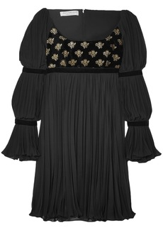 Philosophy Di Lorenzo Serafini Woman Printed Velvet-paneled Pleated Chiffon Mini Dress Black