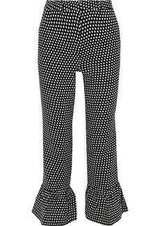 Philosophy Di Lorenzo Serafini Woman Printed Wool-crepe Kick-flare Pants Black