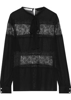 Philosophy Di Lorenzo Serafini Woman Pussy-bow Lace-paneled Chiffon Blouse Black