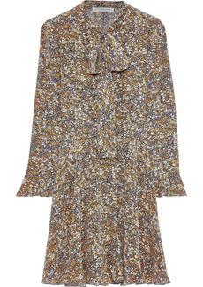 Philosophy Di Lorenzo Serafini Woman Pussy-bow Printed Silk Crepe De Chine Mini Dress Mustard