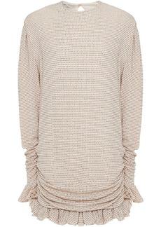 Philosophy Di Lorenzo Serafini Woman Ruched Glittered Jersey Mini Dress Blush