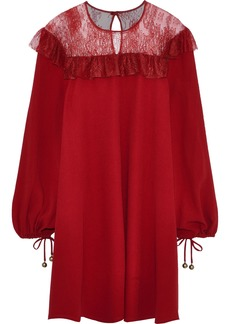 Philosophy Di Lorenzo Serafini Woman Ruffle-trimmed Chantilly Lace And Crepe Mini Dress Red