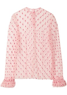 Philosophy Di Lorenzo Serafini Woman Ruffle-trimmed Embroidered Tulle Blouse Baby Pink