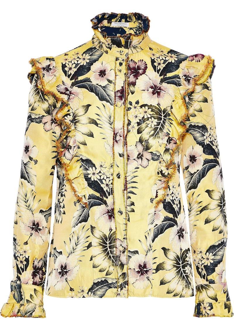 Philosophy Di Lorenzo Serafini Woman Ruffle-trimmed Floral-jacquard Blouse Pastel Yellow