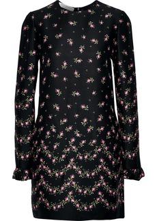 Philosophy Di Lorenzo Serafini Woman Ruffle-trimmed Floral-print Crepe Mini Dress Black