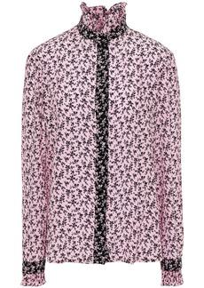 Philosophy Di Lorenzo Serafini Woman Ruffle-trimmed Floral-print Silk Crepe De Chine Blouse Baby Pink