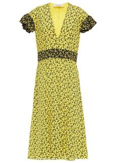 Philosophy Di Lorenzo Serafini Woman Ruffle-trimmed Floral-print Silk Crepe De Chine Midi Dress Yellow