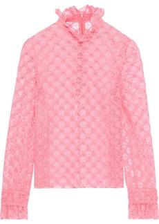 Philosophy Di Lorenzo Serafini Woman Ruffle-trimmed Crocheted Top Bubblegum