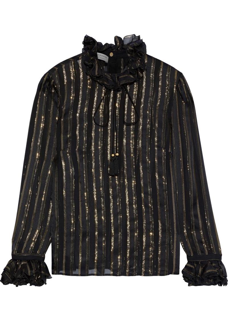 Philosophy Di Lorenzo Serafini Woman Ruffle-trimmed Metallic Striped Silk-blend Chiffon Blouse Black