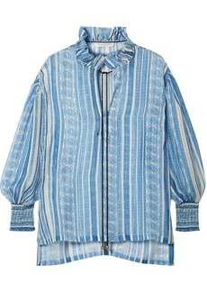 Philosophy Di Lorenzo Serafini Woman Ruffle-trimmed Printed Metallic Silk-voile Blouse Light Blue