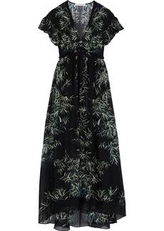 Philosophy Di Lorenzo Serafini Woman Ruffle-trimmed Printed Silk-chiffon Maxi Dress Black
