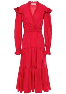 Philosophy Di Lorenzo Serafini Woman Ruffled Broderie Anglaise-trimmed Cotton-poplin Midi Dress Crimson