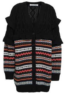 Philosophy Di Lorenzo Serafini Woman Ruffled Cable-knit And Fair Isle Wool Cardigan Black